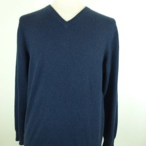 CLUBROOM MACYS NAVY CASHMERE V NECK SWEATER M